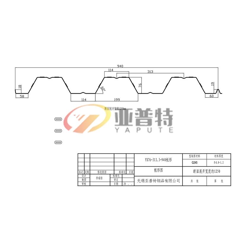 YX76-313.3-940板形