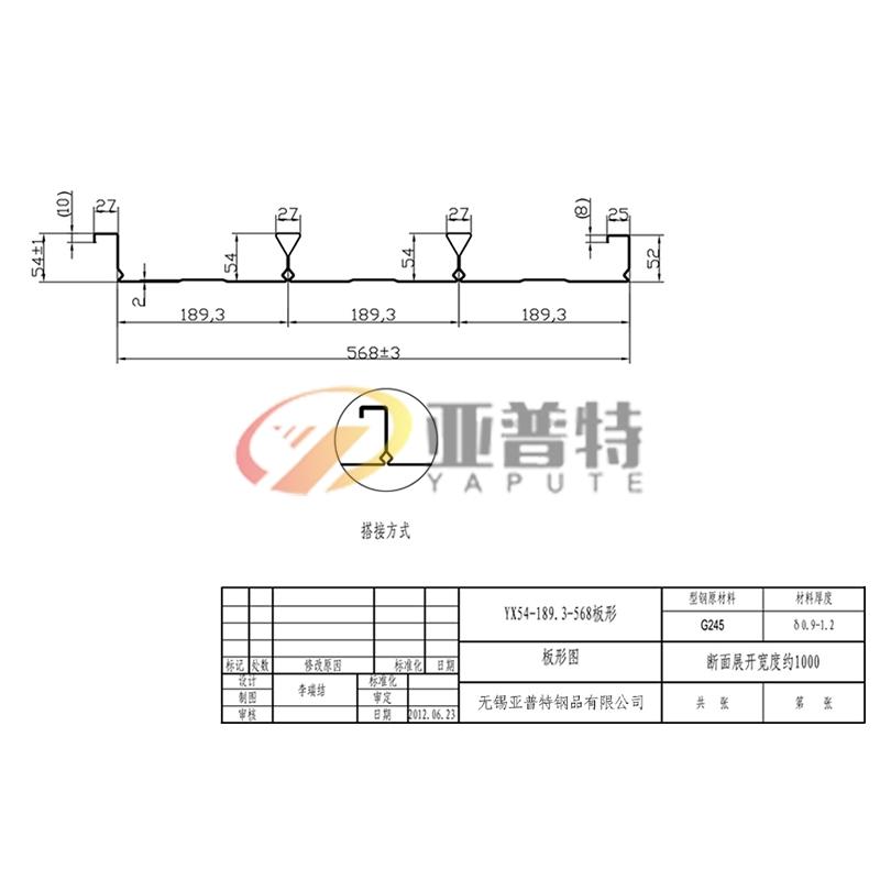 YX54-189.3-568板形