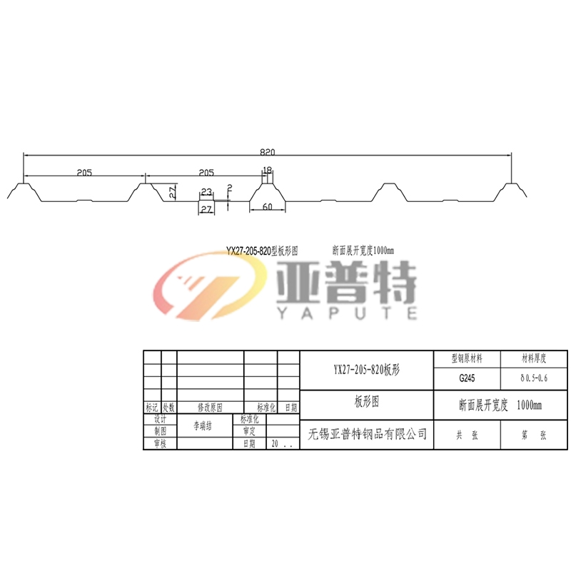 YX27-205-820板形